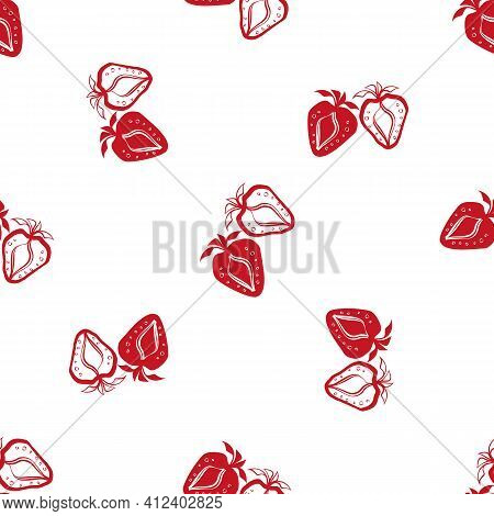 Strawberry Linocut Seamless Vector Pattern Background. Stencil Style Hand Drawn Pairs Of Red Berries