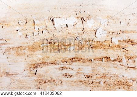 Damaged Spoiled Paper Surface With Traces Of Brown Paint And Frayed Fragments