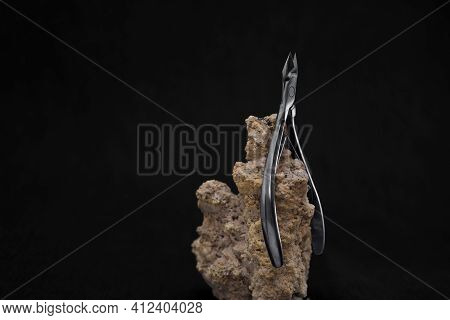 Beautiful Nail Clippers On A Black Background, Nail Clippers, Cuticle Nippers