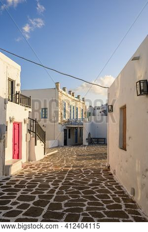 Naoussa Village With Traditional Greek Houses In The Cycladic Style, Paros Island, Greece. Cyclades.