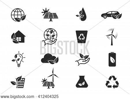 Eco And Environment Icon Set. Eco Friendly Industry And Ecology Symbols. Isolated Vector Images