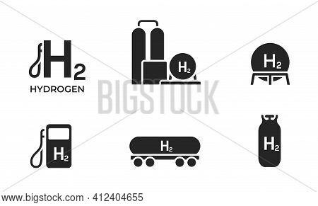 Hydrogen Energy Icon Set. Environment, Eco Friendly Industry And Alternative Energy Symbols. Isolate