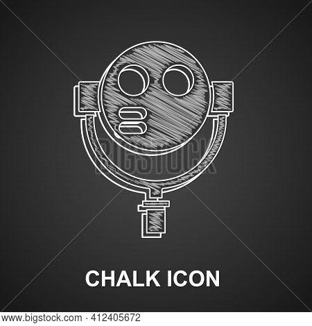 Chalk Tourist Binoculars Icon Isolated On Black Background. Binoculars Telescope On The Observation