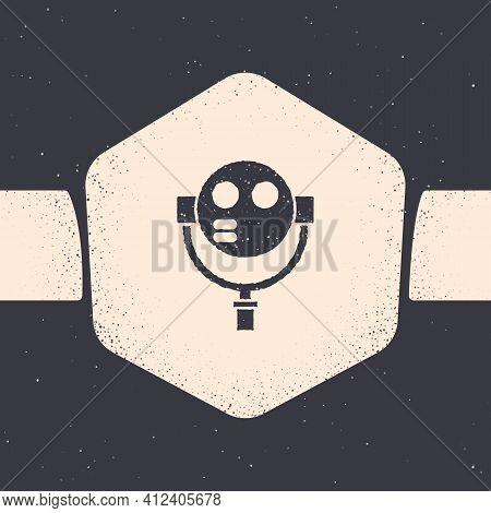 Grunge Tourist Binoculars Icon Isolated On Grey Background. Binoculars Telescope On The Observation