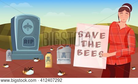 Save The Bees Horizontal Composition With Woman Holding Poster Die Bees And Cans With Pesticide Vect