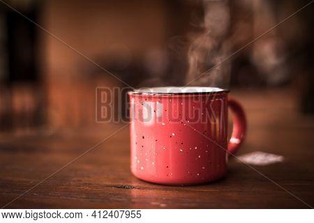 Steamy Red Metal Mug