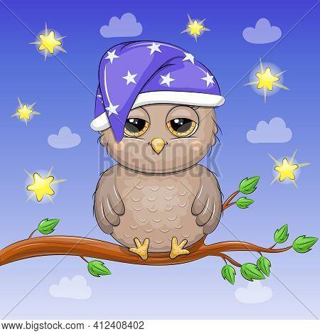 Cute Cartoon Owl In Nightcap Sleeps On Tree. Night Vector Illustration On Blue Background With Stars