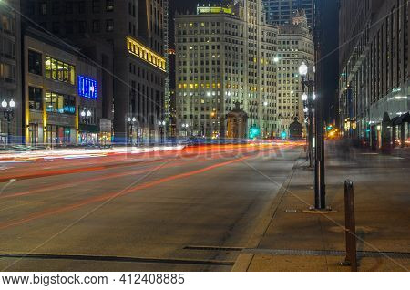 Long Exposure Of Car Light Trails On Michigan Avenue At Night