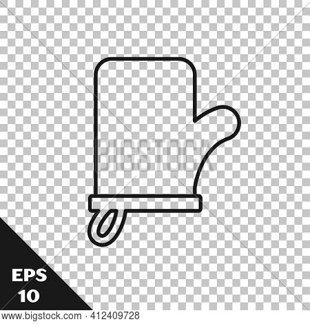 Black Line Sauna Mittens Icon Isolated On Transparent Background. Mitten For Spa. Vector