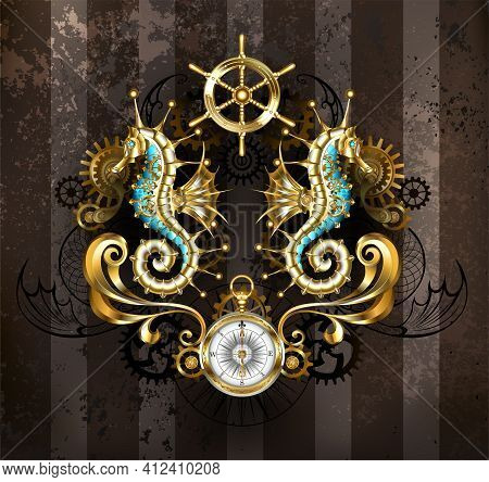 Symmetrical Composition Of Mechanical, Gold Seahorses, Brass Gears, Antique Compass, Golden Steering