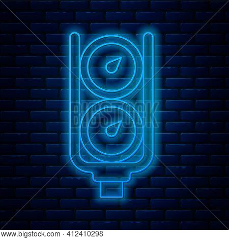 Glowing Neon Line Gauge Scale Icon Isolated On Brick Wall Background. Satisfaction, Temperature, Man