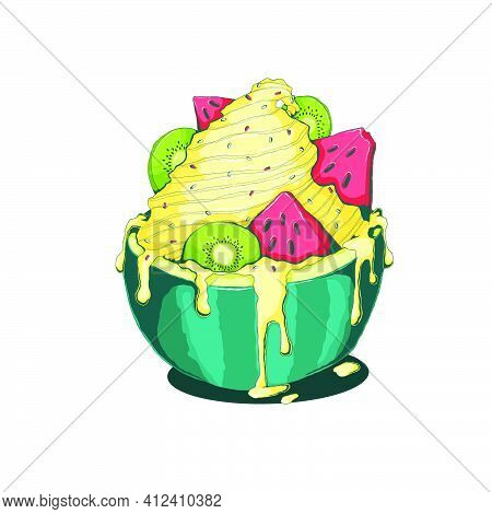 Hand Drawn Vanilla Ice Cream With Kiwi And Watermelon In Sliced Watermelon With Milk Cream In Comix.