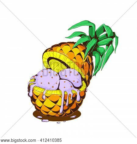 Hand Drawn Violet Ice Cream  With Berry And Pineapple In Sliced Yellow Pineapple With Leabes And Mil