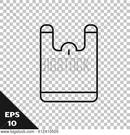 Black Line Plastic Bag Icon Isolated On Transparent Background. Disposable Cellophane And Polythene