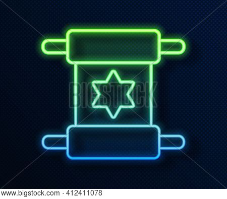 Glowing Neon Line Torah Scroll Icon Isolated On Blue Background. Jewish Torah In Expanded Form. Star