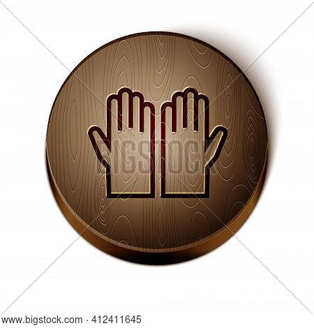 Brown Line Medical Rubber Gloves Icon Isolated On White Background. Protective Rubber Gloves. Wooden