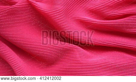Crimson Elegant Wavy Fabric With A Shiny Effect In A Frozen Motion Of Folds, Luxury And Romance In T