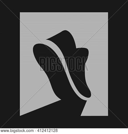 Sports Running Shoe Symbol On Black Backdrop. Design Element
