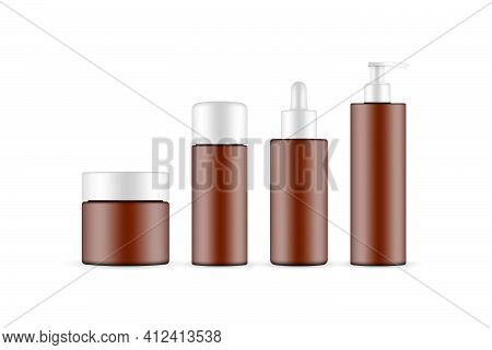 Frosted Amber Cosmetic Packaging Mockup: Jar, Dropper, Pump Bottle Isolated On White Background. Vec
