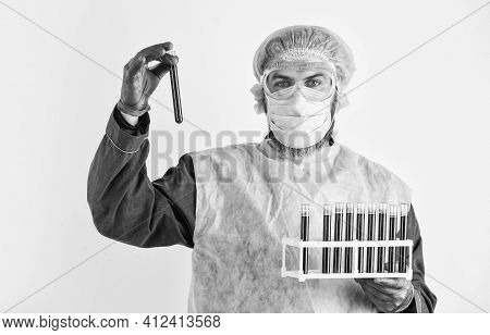 Scientist Test Tubes With Blood Samples. Laboratory Testing Respiratory Coronavirus Disease. Detecti