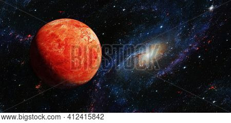 Alien planet in outer space, science fiction 3D universe illustration with nebulas and galaxy. Elements of this image furnished by NASA.