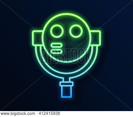 Glowing Neon Line Tourist Binoculars Icon Isolated On Blue Background. Binoculars Telescope On The O