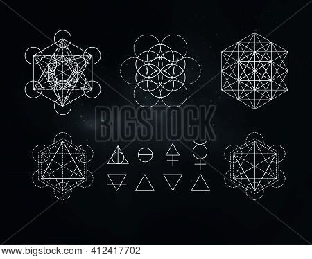 Occult Symbols Isolated On Dark Background. Magic Vector Decorative Set