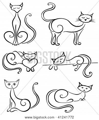 Set cats on a white background.