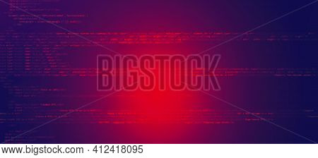 Abstract Technology Binary Code Dark Red Background. Cyber Attack, Ransomware, Malware, Scareware Co
