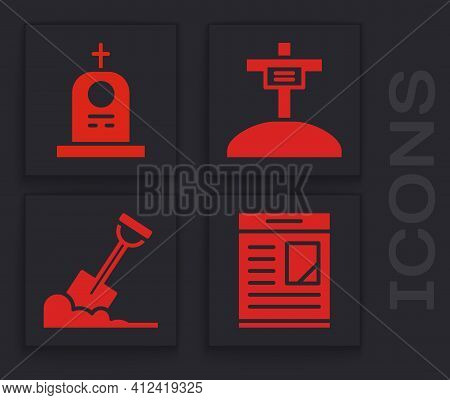 Set Obituaries, Grave With Tombstone, Grave With Cross And Shovel In The Ground Icon. Vector