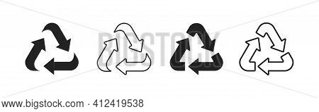 Set Of Recycle Icon Signs. Collection Of Recycling Symbols. Eco Mark.