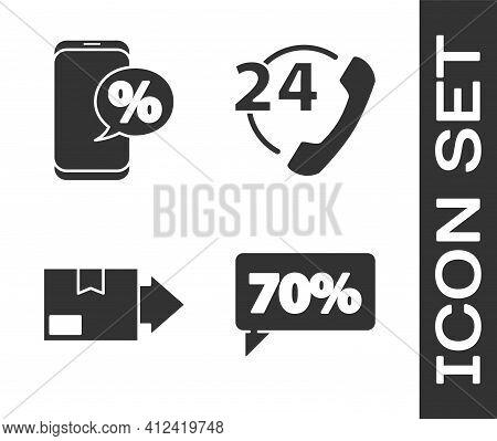 Set Seventy Discount Percent Tag, Percent Discount And Phone, Carton Cardboard Box And Telephone 24
