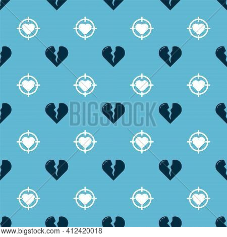 Set Broken Heart Or Divorce And Heart In The Center Of Darts Target Aim On Seamless Pattern. Vector