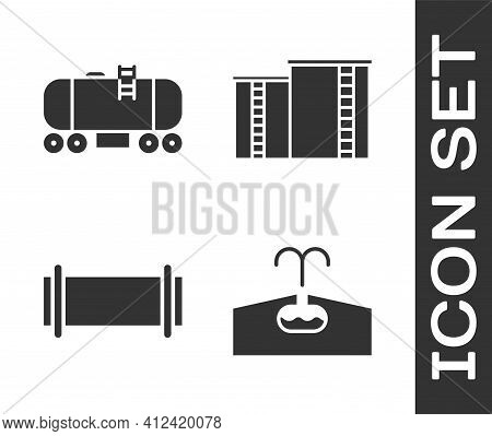 Set Oilfield, Oil Railway Cistern, Industry Pipe And Oil Industrial Factory Building Icon. Vector