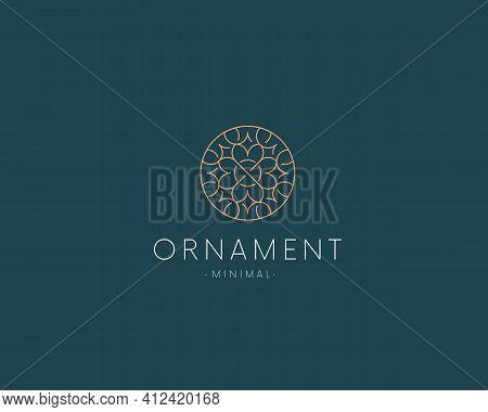 Luxury Flower Circle Logo Vector Design. Elegant Ornament Logotype Sign. Modern Floral Icon.