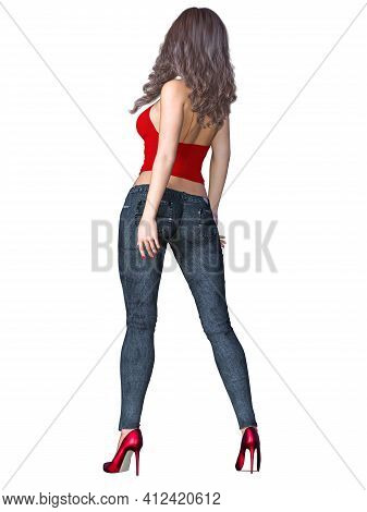 Girl With Long Hair In Dark Stretch Jeans And Red Top. Beautiful Girl Standing Sexually Explicit Pos