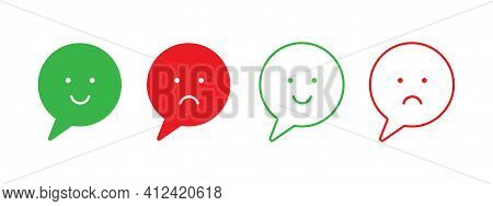 Bad And Good Feedback Emoji Icons. Positive And Negative Review Sign. Happy And Sad Smile.