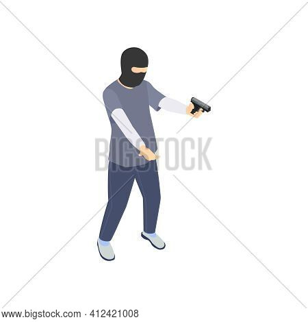Gang Crime Robbery Stealing Isometric Composition With Character Of Robber In Mask Holding Gun Vecto