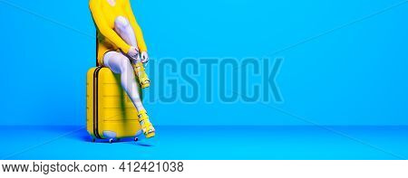 Woman Sit On Suitcase