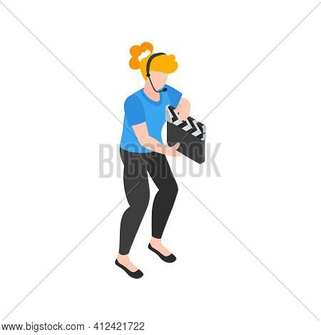 Isometric Cinematography Composition With Isolated Character Of Woman With Clapper And Headphones Ve