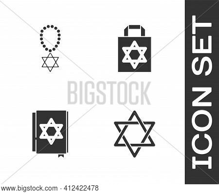 Set Star Of David, Necklace On Chain, Jewish Torah Book And Shopping Bag With Star David Icon. Vecto