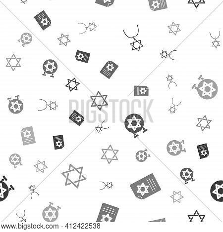 Set Star Of David Necklace On Chain, Torah Scroll, Jewish Synagogue And On Seamless Pattern. Vector