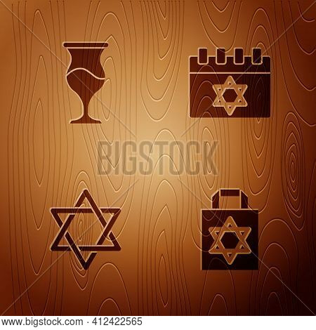 Set Shopping Bag With Star Of David, Jewish Goblet, Star David And Calendar On Wooden Background. Ve