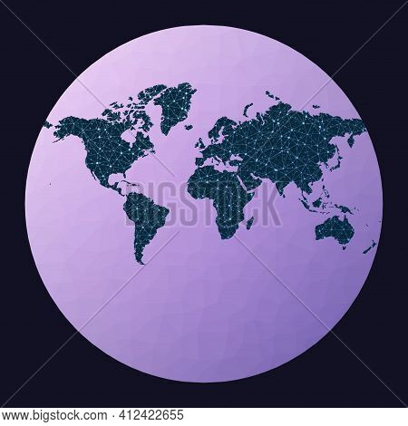 Abstract Map Of World Network. Van Der Grinten Iii Projection. World Network Map. Wired Globe In Van