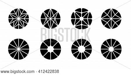 Set Of Abstract Circle Logo Shapes. Modern Geometric Logotypes Vector Design.