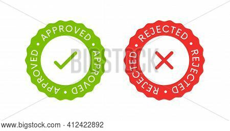 Approved And Rejected Label Sticker Icon Signs. Yes And Not Signs.