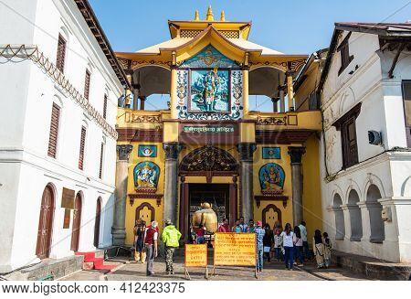 Kathmandu, Nepal : October-18-2018 : The Entance Door Before Entering To Pashupatinath Temple Gajur