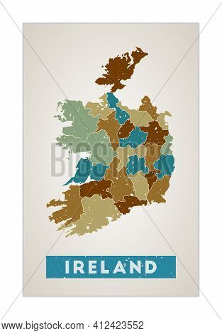 Ireland Map. Country Poster With Regions. Old Grunge Texture. Shape Of Ireland With Country Name. El