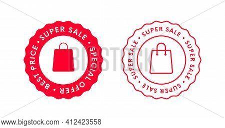 Super Sale Sticker Label Badge Icon. Special Offer Stamp Sign.