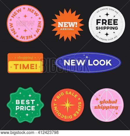 Set Of Retro Shopping Stickers. Cute Sale Label Badges. Trendy Free Shipping, New Look, Big Sale, Be